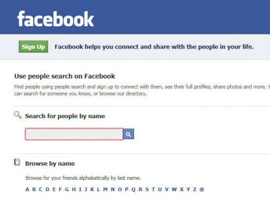 ... search for people on Facebook. Everyone means that users do not have